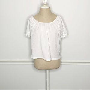 Madewell Texture & Thread White Peasant Blouse XS
